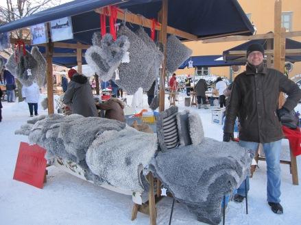 Fårhantverk på Vaxholms julmarknad